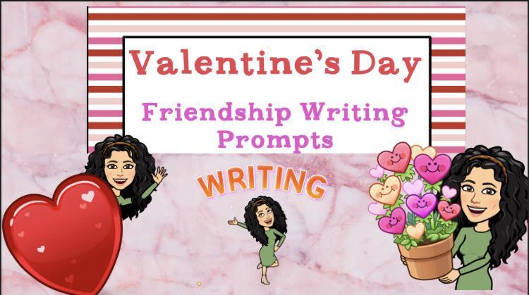 Valentine's day title slide with bitmojis