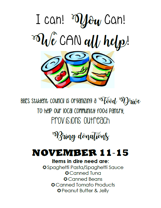 Information for Student Council Food Drive