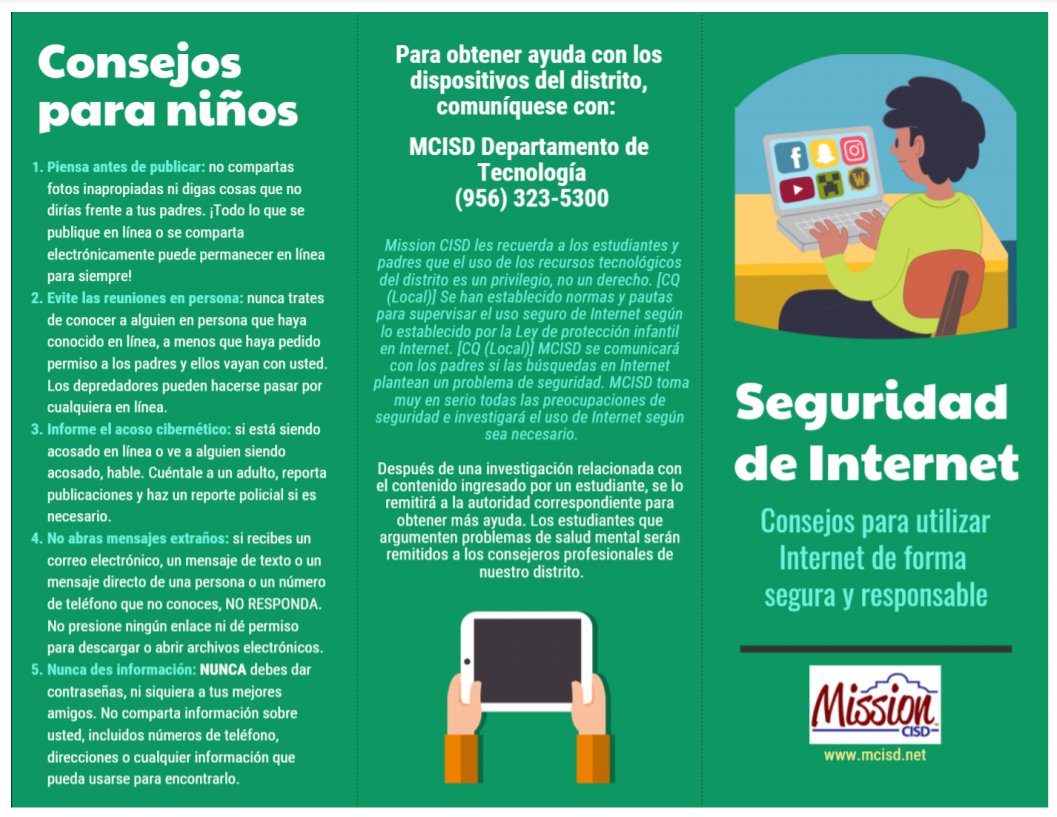 Internet Safety Tips in Spanish page 1