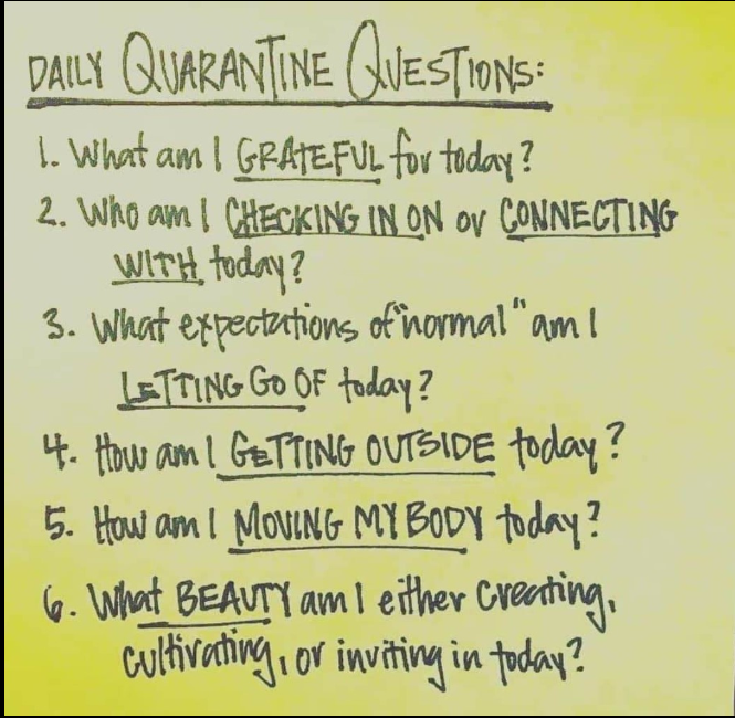 Daily quarantine questions  1. What am I grateful for today?  2. Who am I checking in on or connecting with today?  3. What expectations of 'normal' am I letting go of today?  4. How am I getting outside today?  5. How am I moving my body today?  6. What beauty am I either creating, cultivating, or inviting in today?