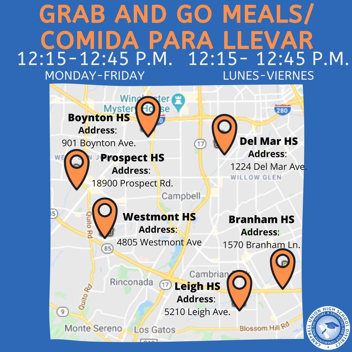 image of map showing grab and go free meals at cuhsd schools