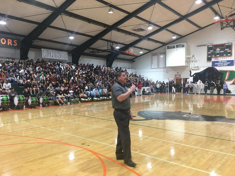 Principal Jose Valdez addresses the students at the rally.