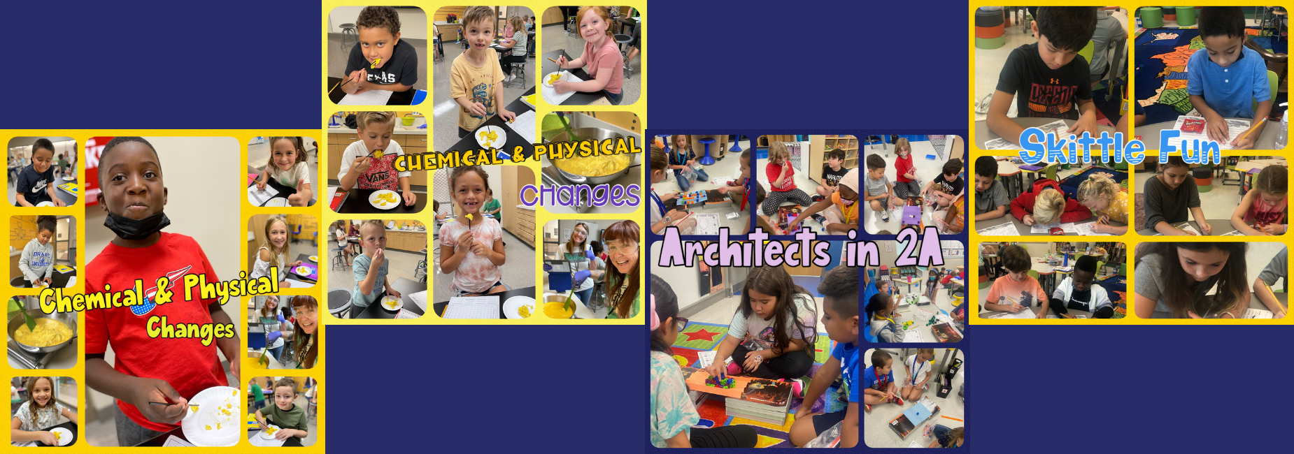 collage of elementary kiddos working in class