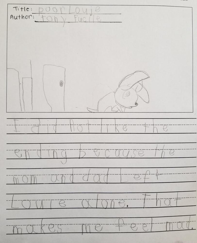 Student writing on a book read
