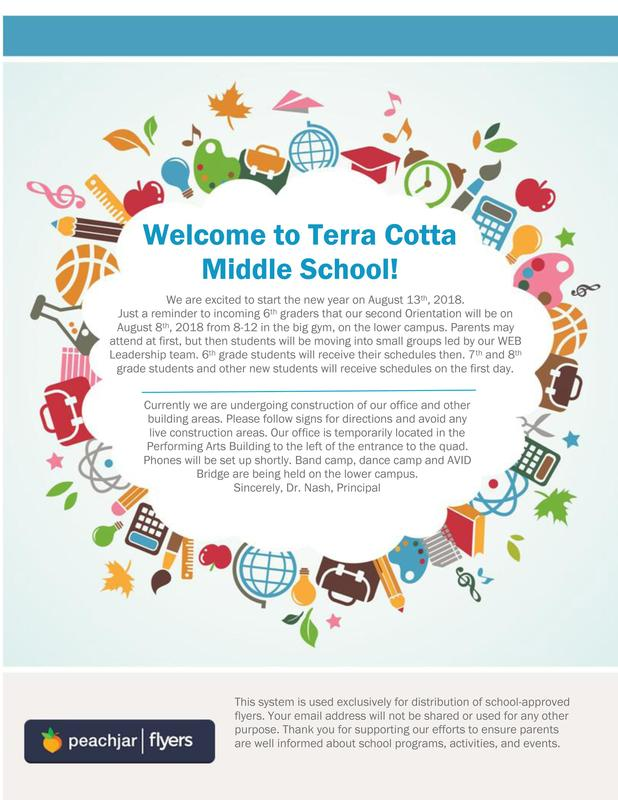 Terra Cotta Middle School's back to school flyer (English version)