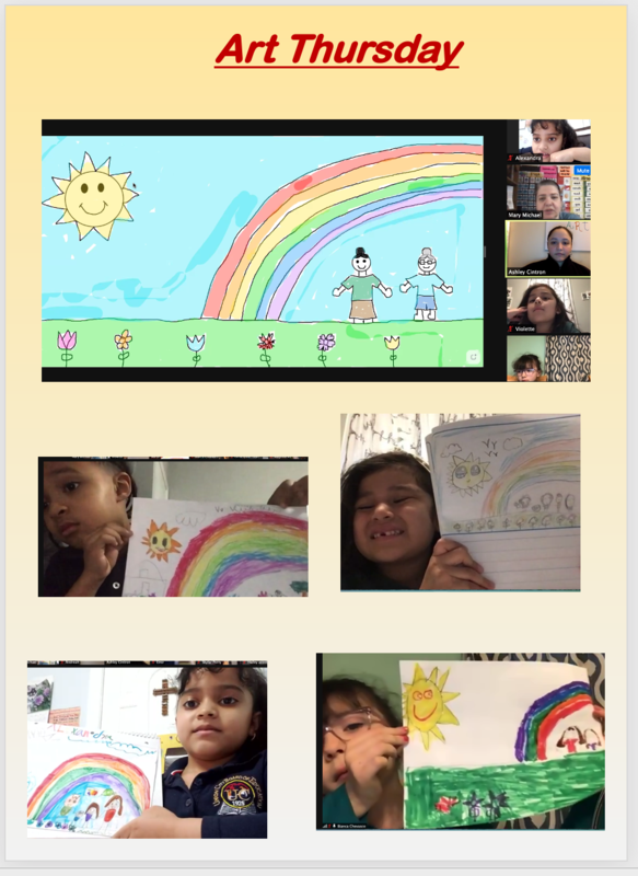 Students holding rainbow drawings for