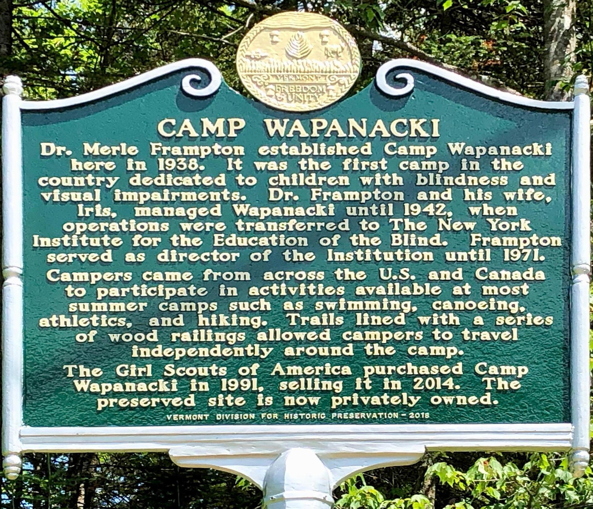 Historical marker of Camp Wapanacki