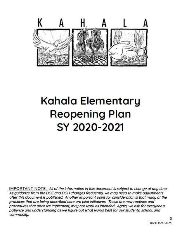Kahala Elementary Reopening Plan SY 2020-2021 (Rev. 03/21/2021)