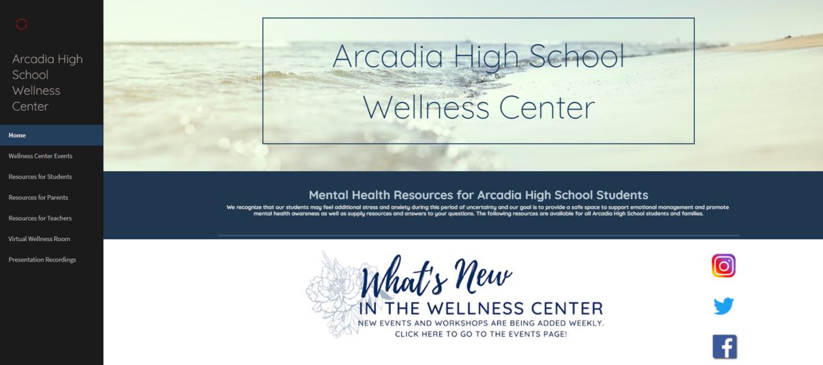 Screenshot of Arcadia High Wellness Center homepage