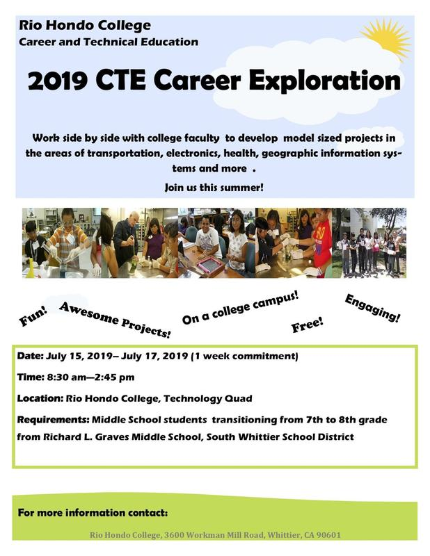 Rio Hondo College Offering Free CTE Career Exploration Summer Camp To GMS Students Featured Photo