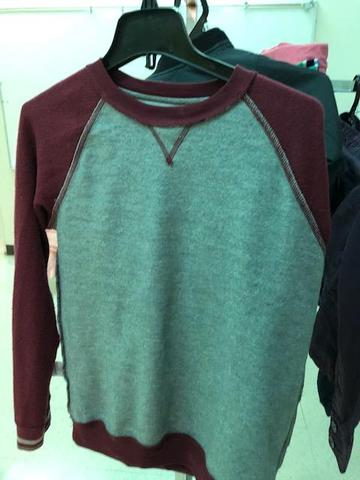 burgundy and gray long sleeve shirt