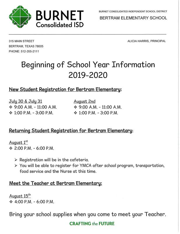 Beginning of the School Year Registration and Meet the Teacher Information Thumbnail Image