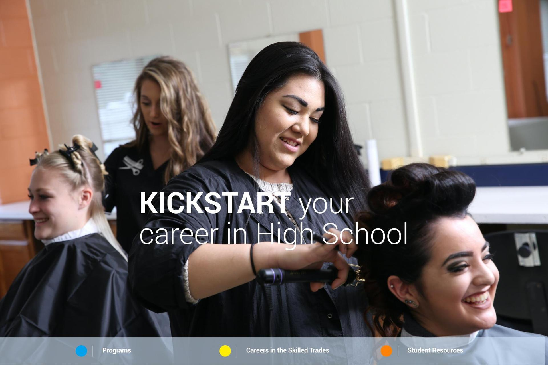 cosmetology students doing hair