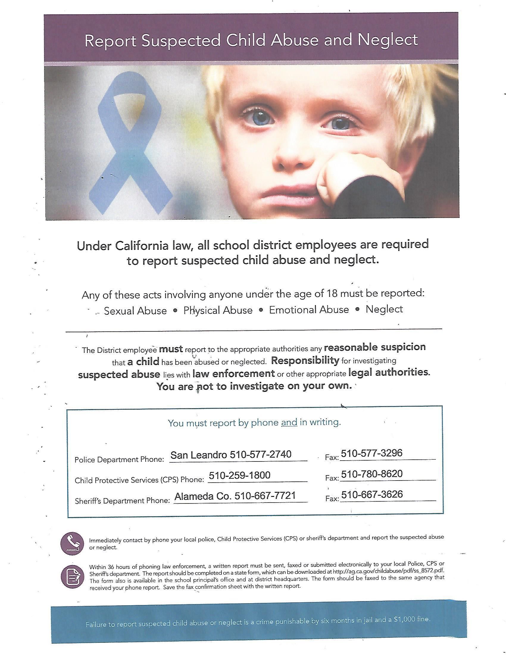 Mandated child abuse reporting instructions and phone numbers