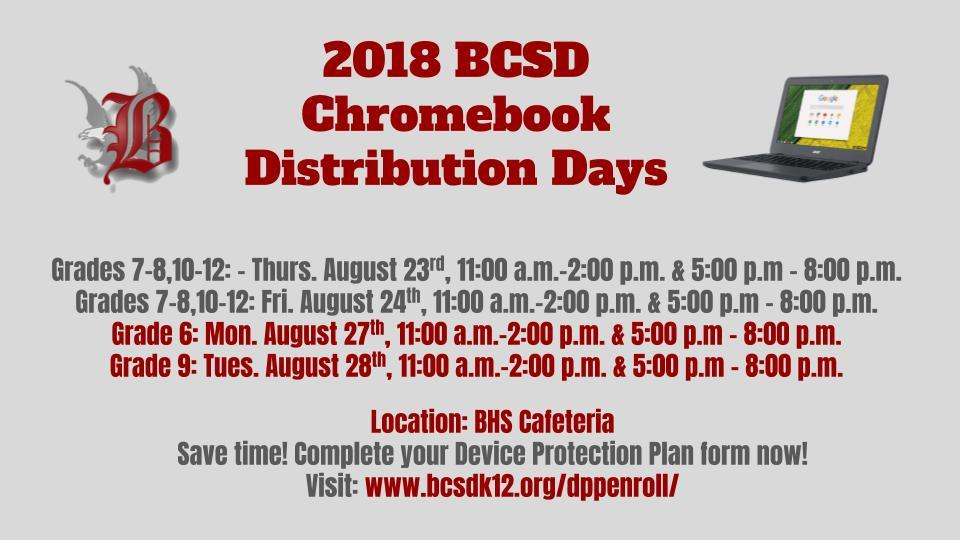 Chromebook Distribution Day Schedule