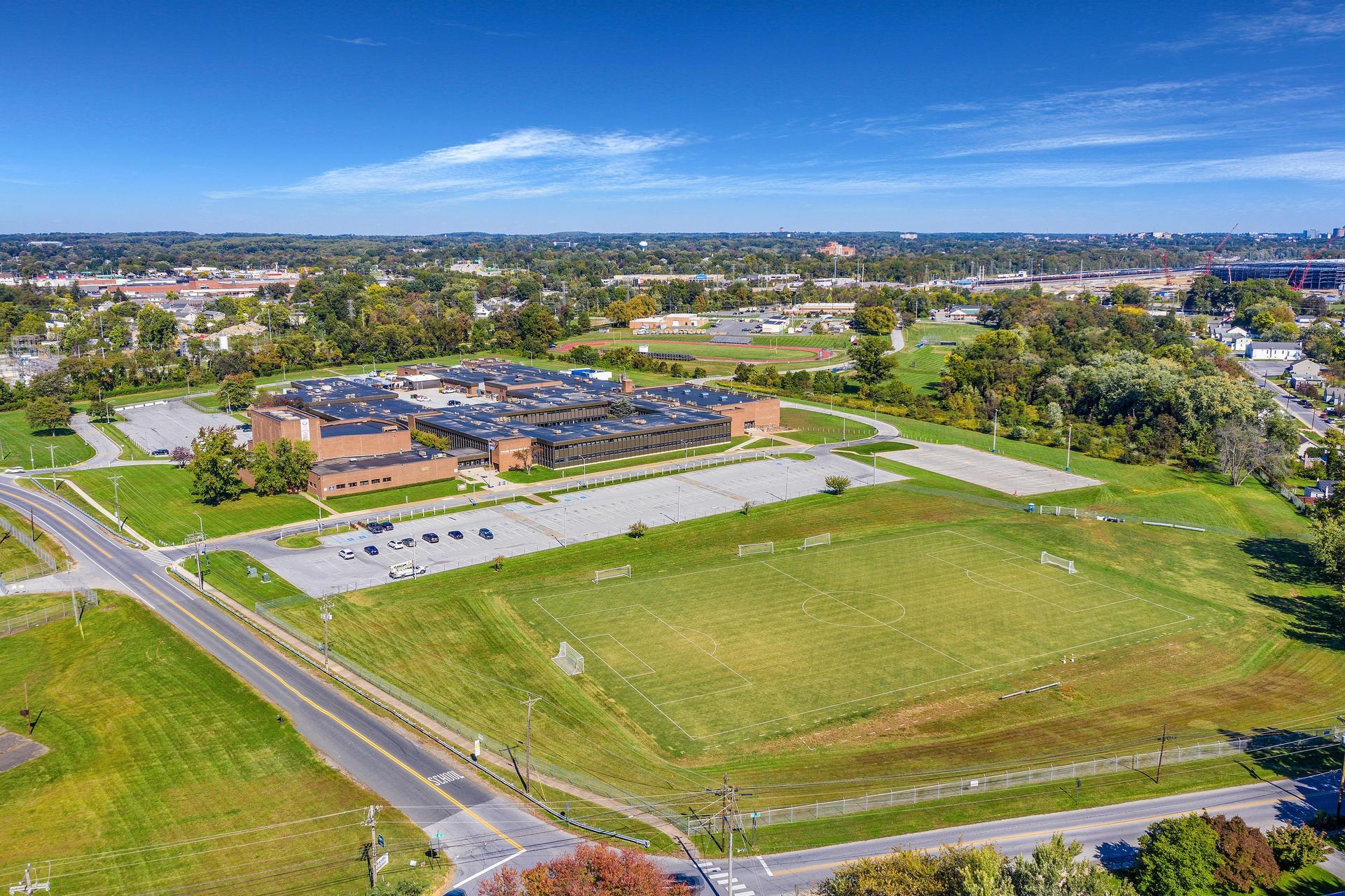 Drone View of Delcastle School