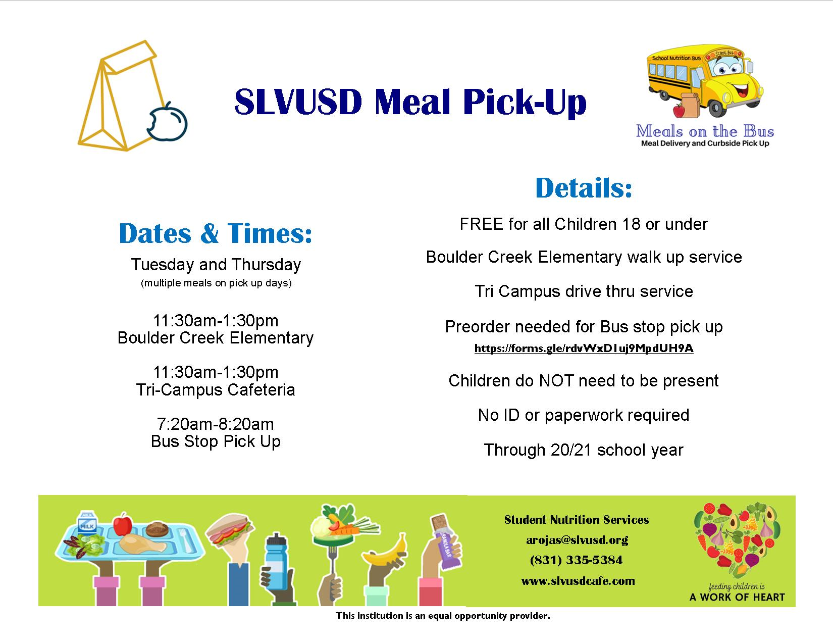 slvusd meal pick-up; call 335-5384 for details