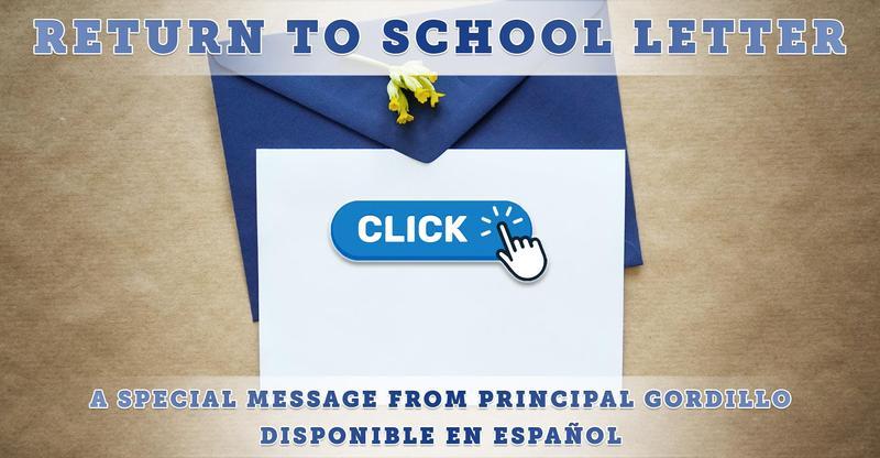 Back to School Letter From Principal Gordillo