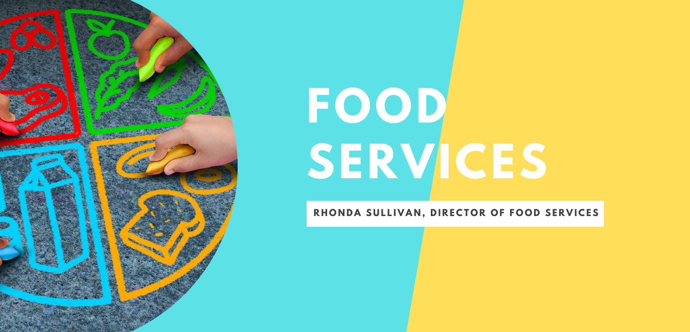 Half blue/yellow sections. Kids chalk drawing food categories. Food Services, Rhonda Sullivan, Food Services Director