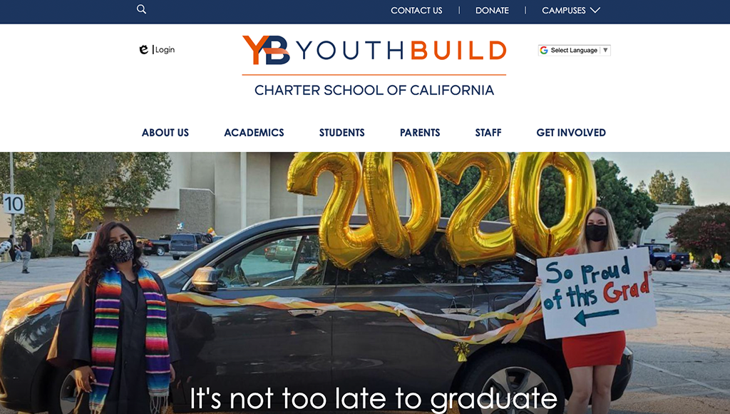 website for YouthBuild Charter School