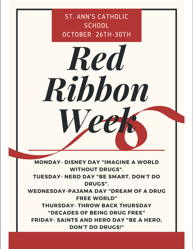 2020 Red Ribbon Week Schedule - October 26-30 Featured Photo
