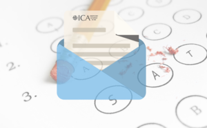 letter icon with multiple choice test in the background