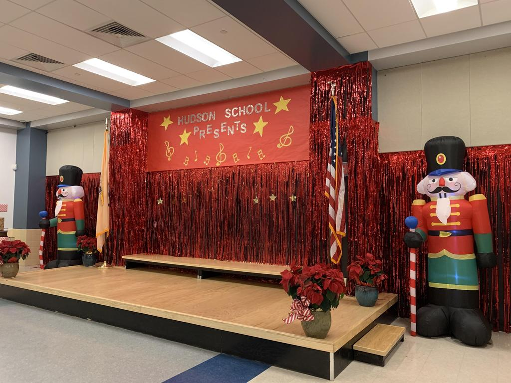 Hudson Stage decorated with two Large Blow up Nutcrackers