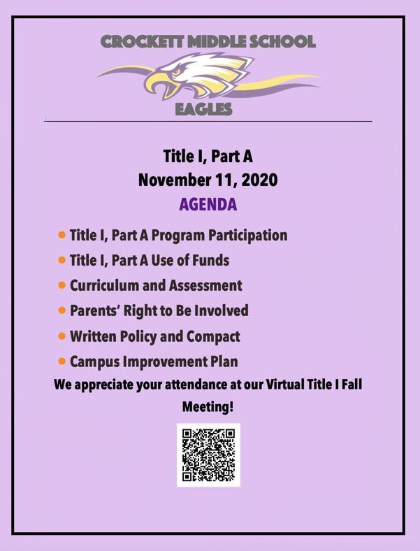 Title 1 Part A Virtual Meeting