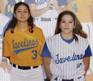 Pictured in their 2002 Javelina Softball Team uniforms are Economedes High School Girls Head Basketball Coach Mariana Casarez Campos (left) and Kennedy Elementary School Physical Education Coach Lesley Zambrano Salinas (right).