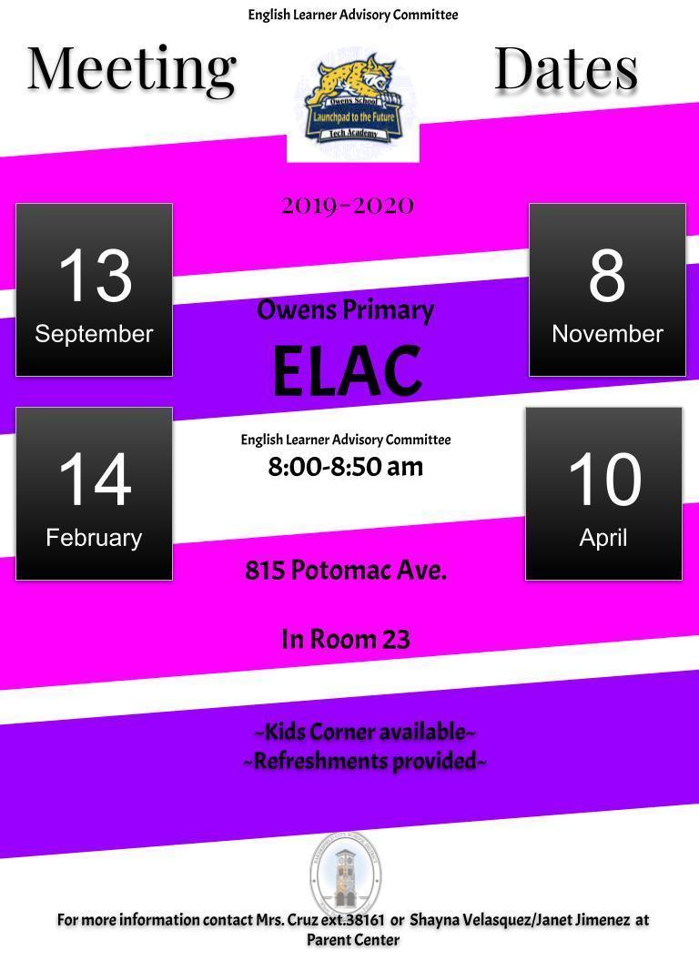English Learner Advisory Committee Dates English