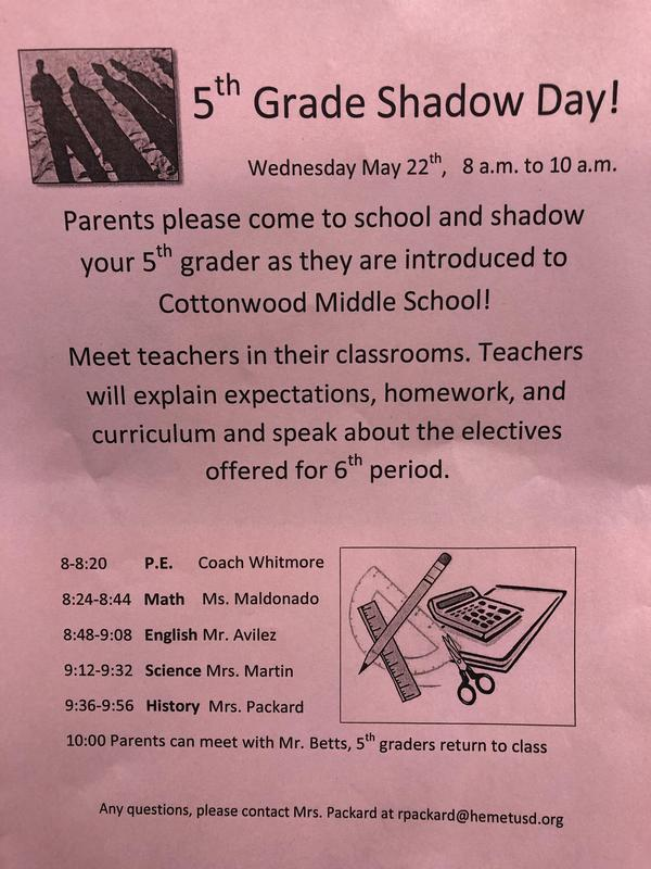 Shadow Day Schedule