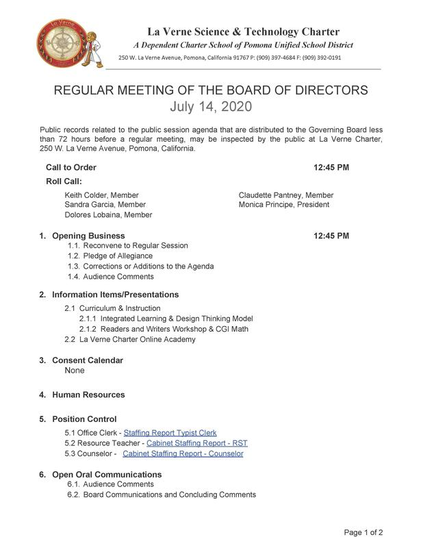 REGULAR MEETING OF THE BOARD OF DIRECTORS July 14, 2020