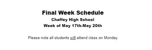 CHS Final Week Schedule