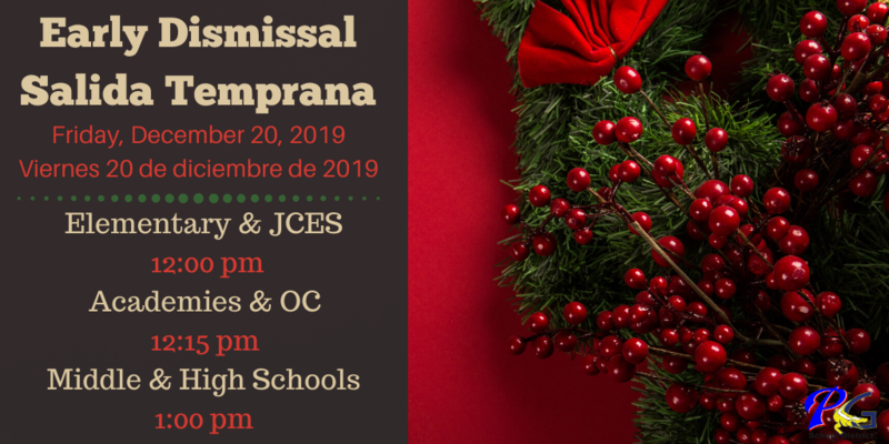 Early Dismissal Friday, December 20, 2019