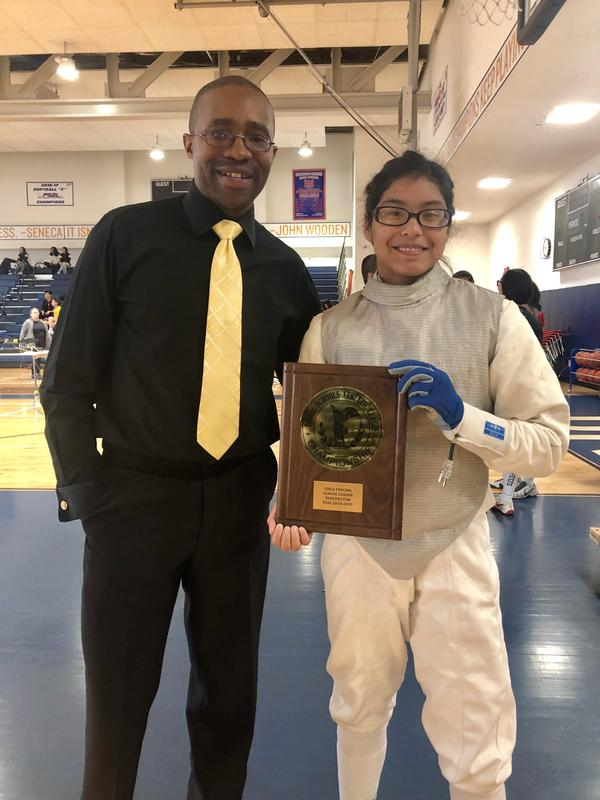 Fencing Commissioner Presents PSAL Award To Maspeth High School Foil Fencer Featured Photo