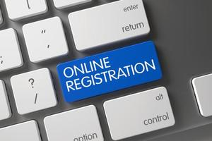 The words online registration appear on keyboard.