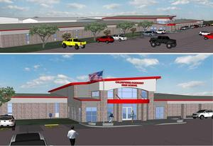 Schematic of CTE wing and new entrance to high school