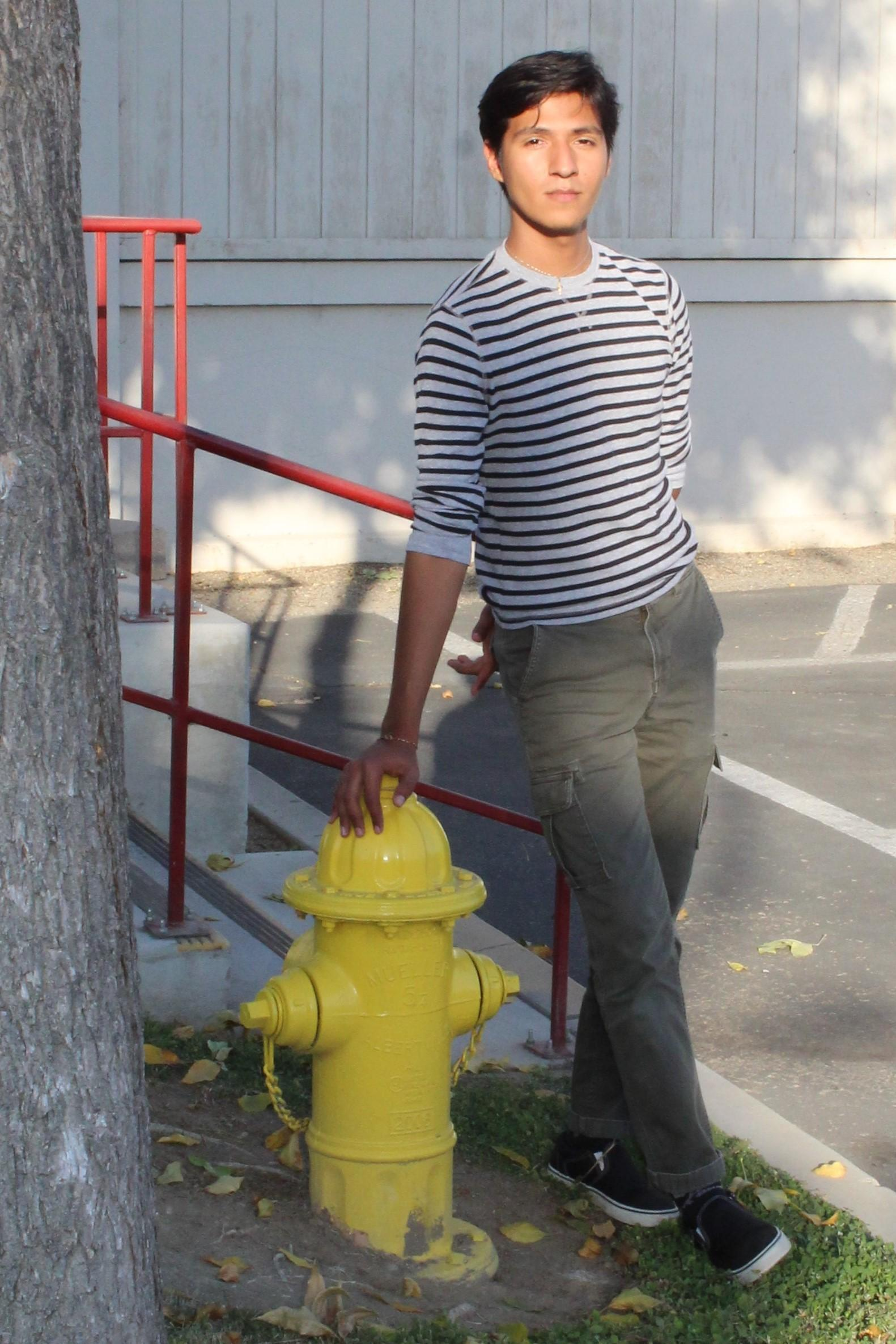 Background distraction - leaning on a fire hydrant