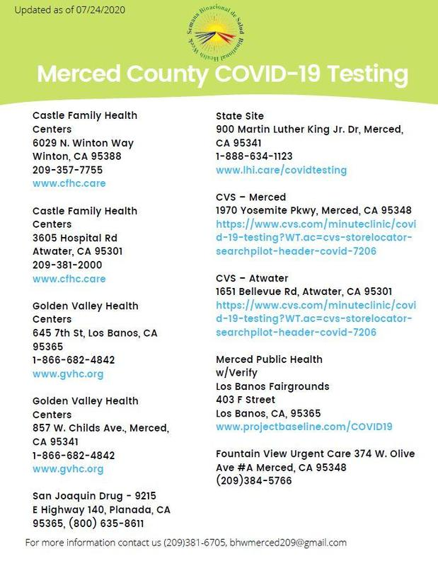 COVID-19 Testing Locations in Merced County
