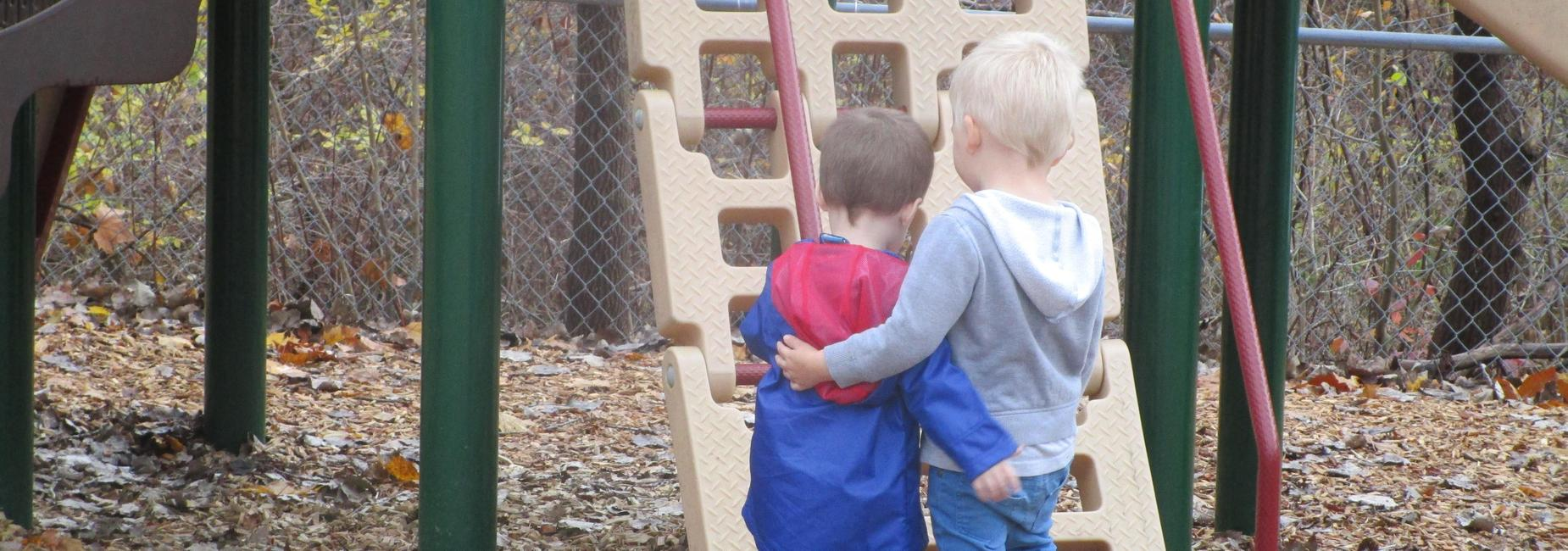 two boys playing on a jungle gym
