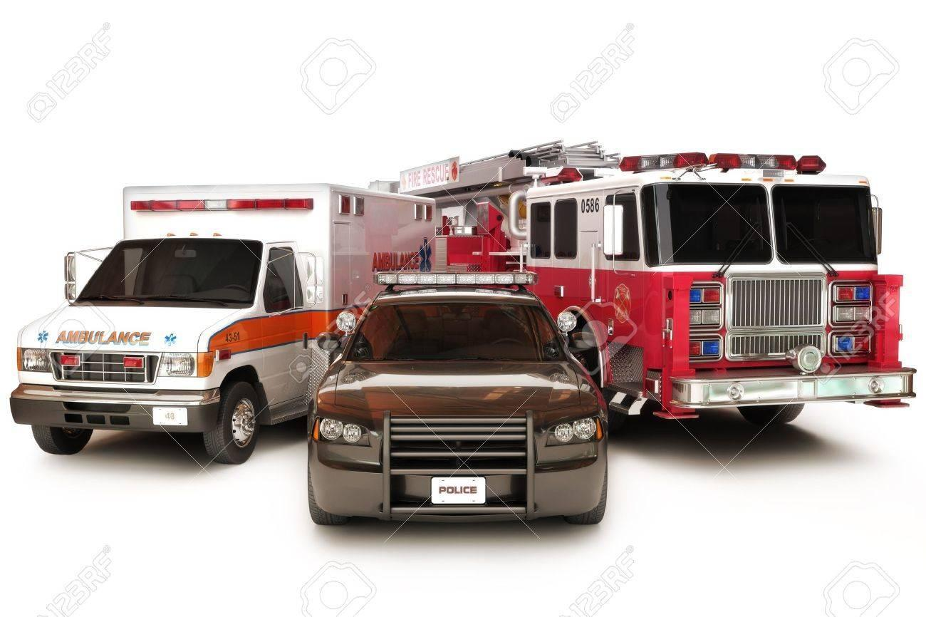 Photo of ambulance, police car, and fire truck