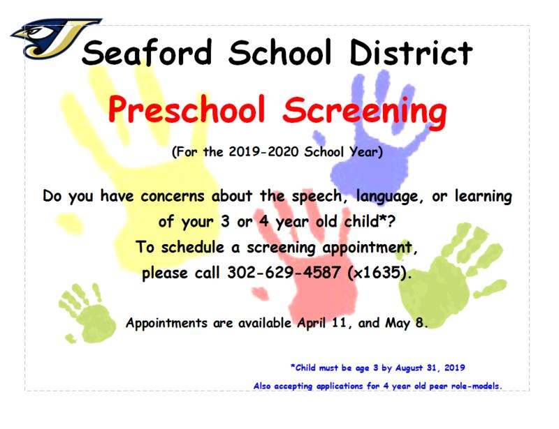 2019-2020 School Year Preschool Screening for Seaford School District Featured Photo