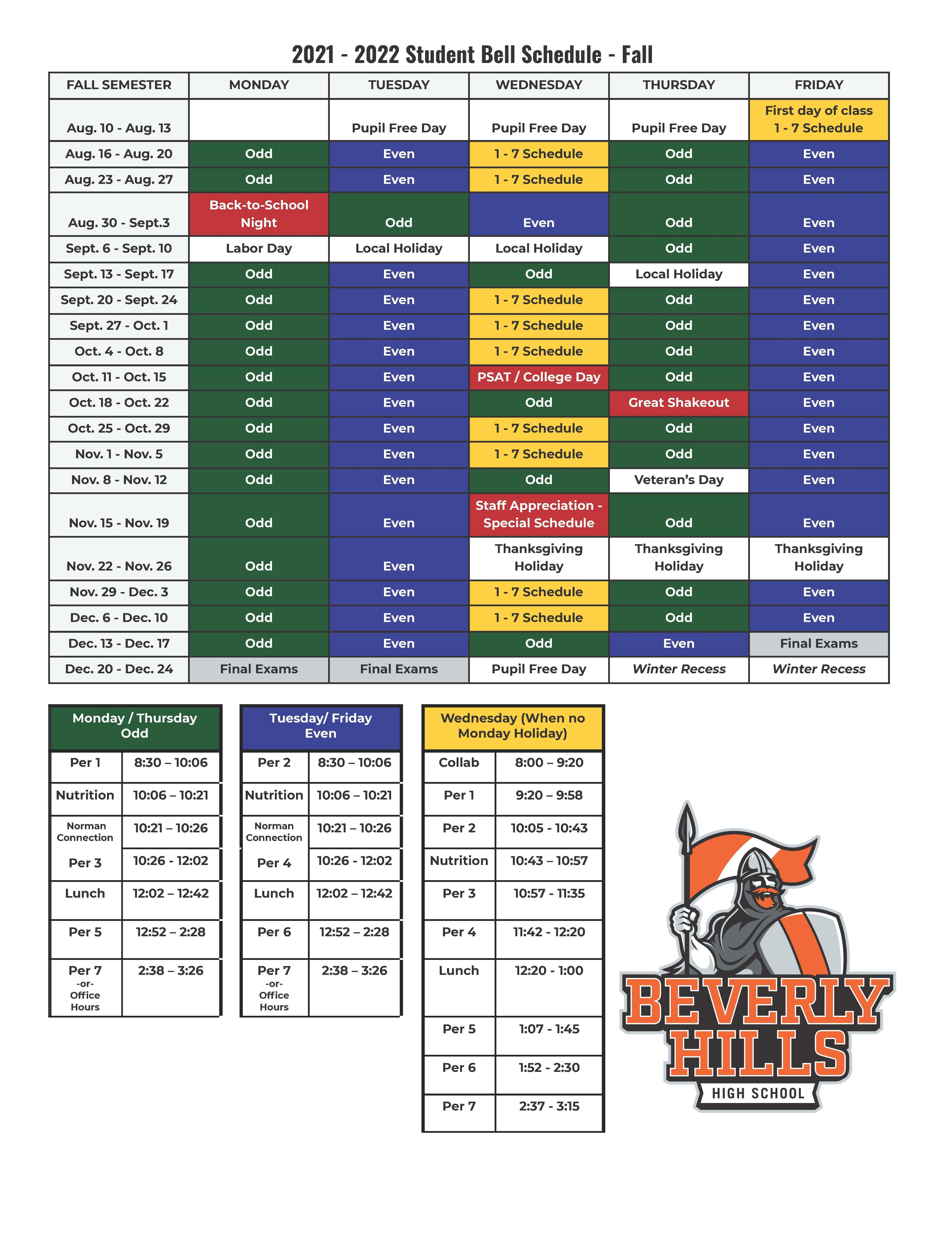 Student Bell Schedules Fall 2021-22