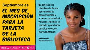 A graphic in Spanish to promote Library Card Sign-Up Month