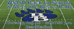 Back to School & Meet the Bears Rally Thursday, Aug. 23