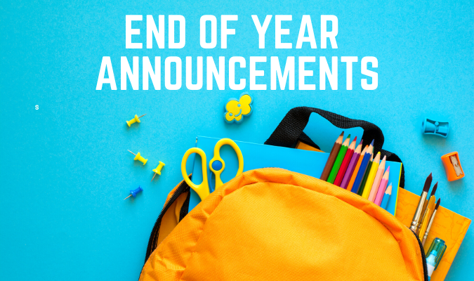 END OF THE YEAR ANNOUNCEMENT VIDEO! Thumbnail Image