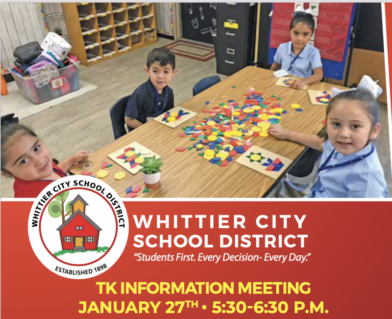 Picture of kids sitting on a table with learning chips, also information on TK information Night
