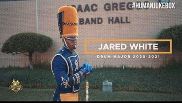 A photo of Jared White_former Baker High Drum Major_now the 2020-2021 Human JukeBox Drum Major