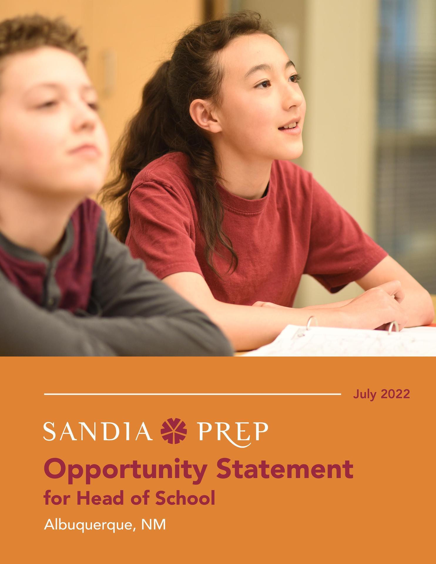 Sandia Prep HOS Statement of Opportunity