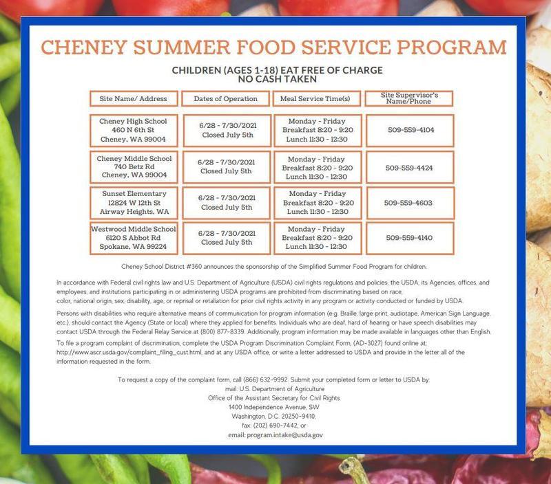 Cheney Summer Food Service Program